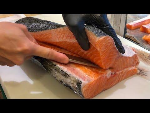 Salmon Cutting Skills 鮭魚切割技能 - How to Cut a Salmon for Sashimi